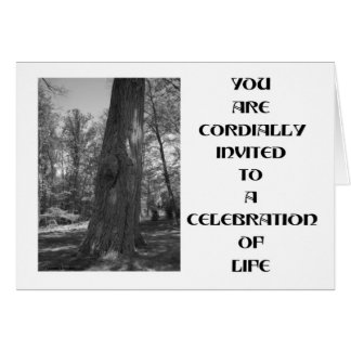 Cordially Invited To Celebration Of Life Oak Tree Card