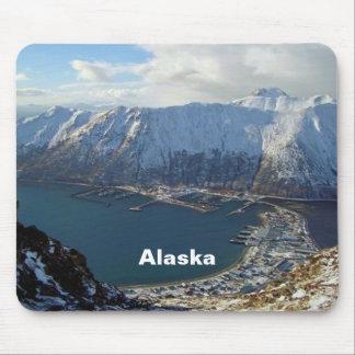 Cordillera y ciudad de Alaska abajo Alfombrillas De Ratones