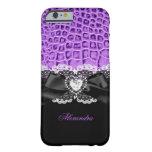 Cordón animal negro púrpura elegante 2 del corazón funda de iPhone 6 barely there