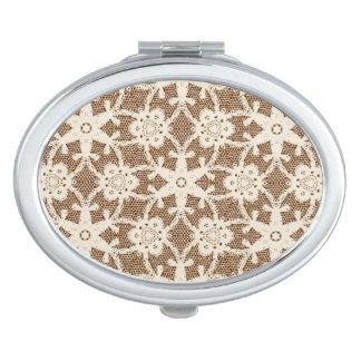 Cordón antiguo - crema y marrón espejo maquillaje