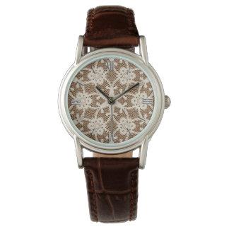 Cordón antiguo - crema y marrón reloj