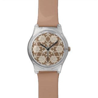 Cordón antiguo - crema y marrón relojes de mano