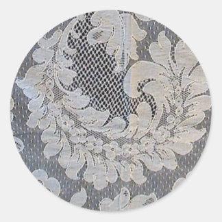 Cordón antiguo de Alenzón del francés Pegatina Redonda