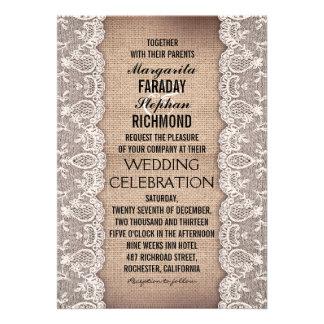 cordón antiguo e invitaciones rústicas del boda de