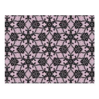 Cordón antiguo - negro y rosa del hielo postales