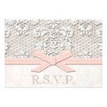 Cordón antiguo rosado RSVP que casa tarjetas de la Invitación