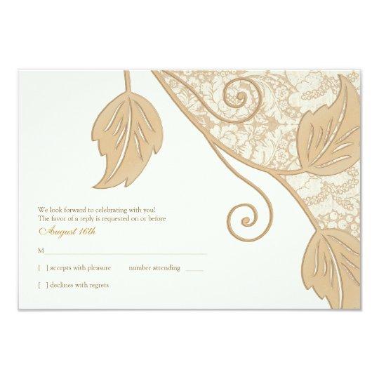 """Cordón antiguo y hojas que casan la tarjeta de invitación 3.5"""" x 5"""""""