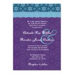 Cordón azul de la aguamarina de la púrpura real invitación personalizada