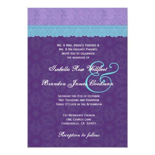 Cordón azul de la aguamarina de la púrpura real invitaciones personalizada