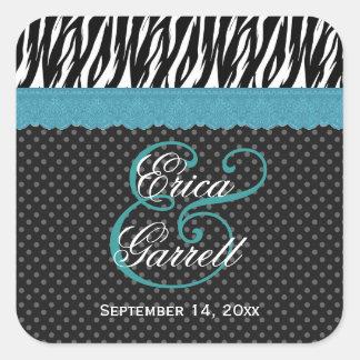 Cordón azul de la aguamarina del boda de la cebra pegatina cuadrada
