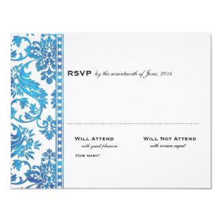 Cordón azul del damasco del vintage que casa RSVP Invitacion Personalizada