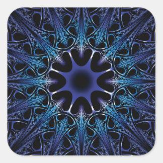 Cordón azul del fractal pegatina cuadrada