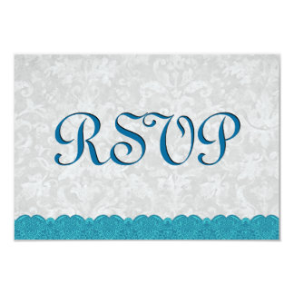 Cordón azul RSVP de la aguamarina que casa Invitación 8,9 X 12,7 Cm