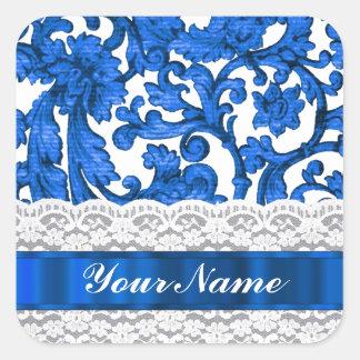 Cordón azul y blanco pegatina cuadrada