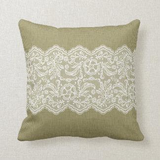 Cordón beige del blanco del lino y del vintage cojin