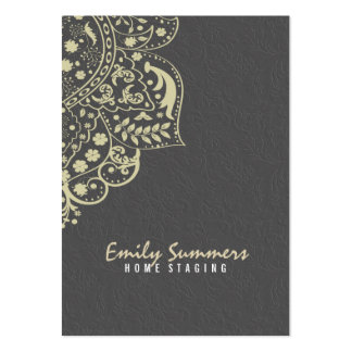 Cordón beige del vintage de los damascos grises tarjetas de visita grandes