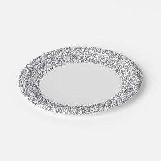Cordón blanco 1 plato de papel de 7 pulgadas
