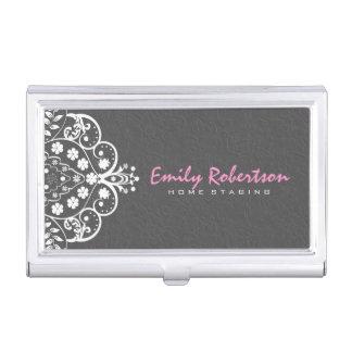 Cordón blanco 2a del vintage de los damascos cajas de tarjetas de presentación