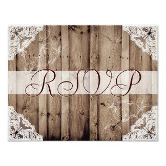 Cordón blanco antiguo que casa RSVP Invitación 10,8 X 13,9 Cm