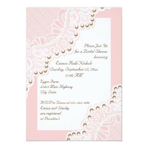 """Cordón blanco con la ducha nupcial del boda rosado invitación 5"""" x 7"""""""