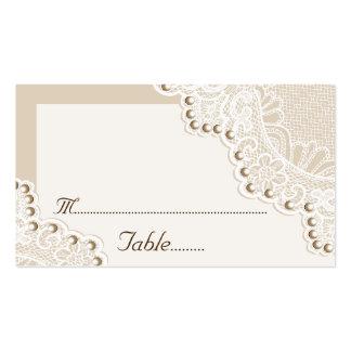 Cordón blanco con las perlas que casan la tarjeta tarjetas de visita