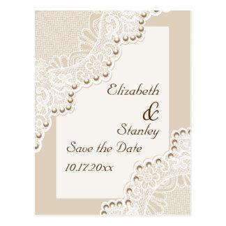 Cordón blanco con las perlas que casan reserva la tarjetas postales
