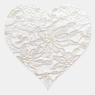 Cordón blanco de Chantilly Pegatina De Corazón Personalizadas