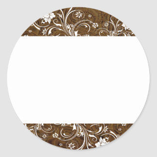 Cordón blanco de la mirada del cuero marrón oscuro etiqueta redonda