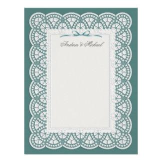 Cordón blanco de la novia en papel con membrete de membrete personalizado