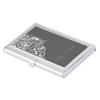 Cordón blanco del vintage de los damascos grises cajas de tarjetas de negocios