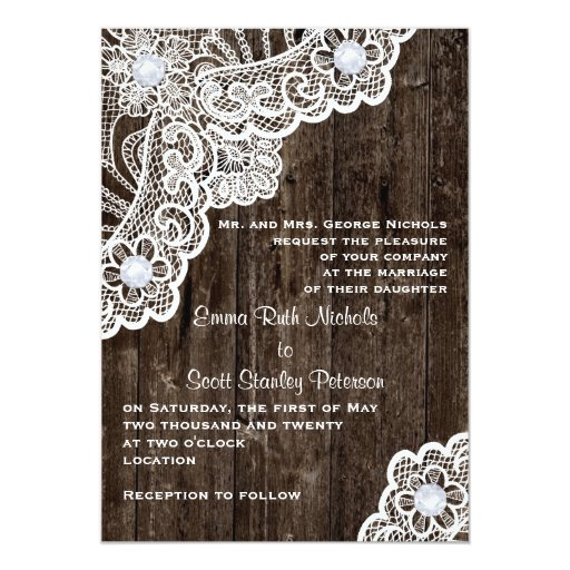 """Cordón blanco del vintage en el viejo boda de invitación 5"""" x 7"""""""