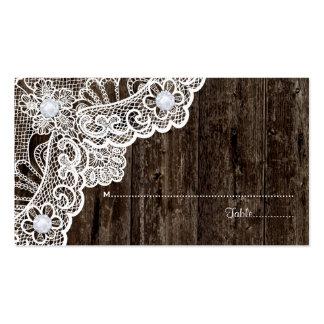 Cordón blanco del vintage en tarjeta de madera tarjetas de visita