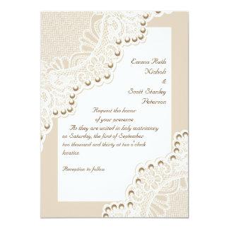 Cordón blanco elegante con casarse de las perlas invitación 12,7 x 17,8 cm