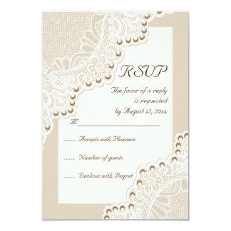 Cordón blanco elegante con las perlas que casan la invitación 8,9 x 12,7 cm