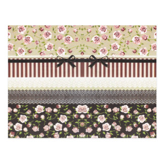 Cordón blanco femenino elegante y rosas rosados tarjetas postales