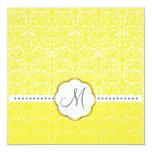 Cordón blanco+ Invitaciones amarillas del boda del Invitación 13,3 Cm X 13,3cm