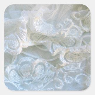 Cordón blanco rizado pegatina cuadrada