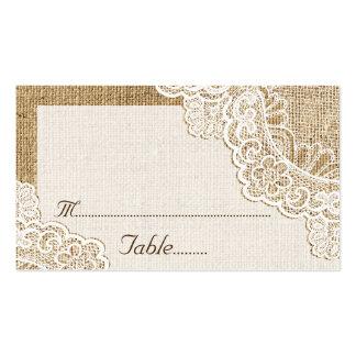 Cordón blanco rústico en tarjeta del lugar del tarjetas de visita