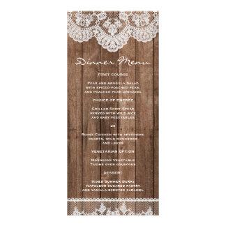 Cordón blanco rústico y menú delgado de madera de  diseños de tarjetas publicitarias