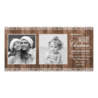 Cordón blanco rústico y navidad de madera tarjeta fotografica personalizada