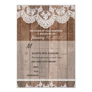 Cordón blanco rústico y RSVP de madera con Invitaciones Personalizada