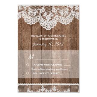 Cordón blanco rústico y RSVP de madera Invitación 8,9 X 12,7 Cm
