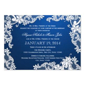 Cordón blanco y boda profundo del zafiro comunicados personalizados