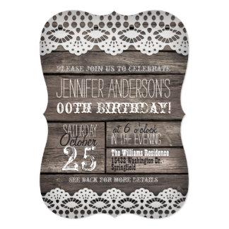 """Cordón blanco y cumpleaños adolescente adulto de invitación 5"""" x 7"""""""