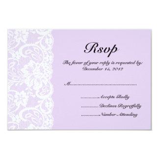 """Cordón blanco y lila que casan la tarjeta de RSVP Invitación 3.5"""" X 5"""""""