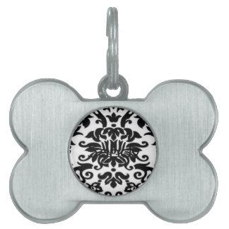 Cordón blanco y negro placa de nombre de mascota