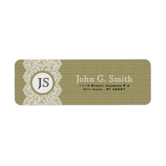 Cordón blanco y textura de lino beige natural de etiqueta de remite