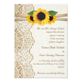 Cordón, cinta y girasoles blancos en el boda de la invitación 12,7 x 17,8 cm