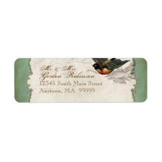 Cordón color de rosa francés del vintage de los etiqueta de remite