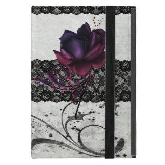 Cordón color de rosa y negro gótico iPad mini carcasa